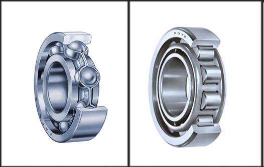 Exemplos dos sistemas de esferas à esquerda e de roletes (dir.).